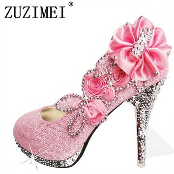 2018 Glitter Gorgeous Wedding Bridal Evening Party Crystal High Heels Women Shoes Sexy Woman Pumps Fashion Bridal Shoes 8 color
