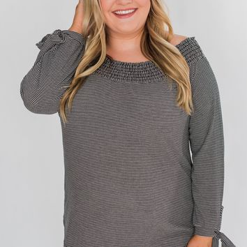 Dreaming of Stripes Off the Shoulder Top - Black & White