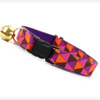 "Cat Collar - ""Maven"" - Mod Geometric Triangle Pattern w/ Pink, Orange & Purple"