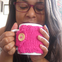 Pink Coffee Mug Cozy with Wood Button – Knitted Coffee Mug Holder – Cotton Mug Warmer – Gift for Her Under 15 – Stocking Stuffer