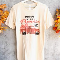 distracted - meet me at the pumpkin patch unisex graphic tee - soft cream