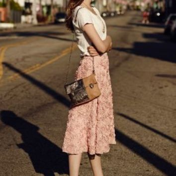 ANTHROPOLOGIE PETALUMA SKIRT SIZE LARGE HD IN PARIS PINK ROSETTE ROSES