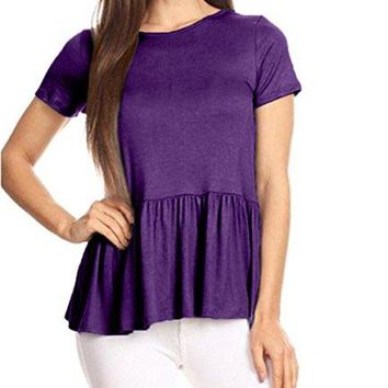 GOCHIC Womens Crew Neck Short Sleeve Ruffle Hem Peplum Tops Shirts