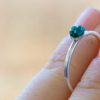 Dioptase Sterling silver Ring - Green emerald Engagement Ring - RARE