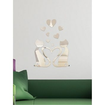 Couple Cat Mirror Wall Sticker 9pcs