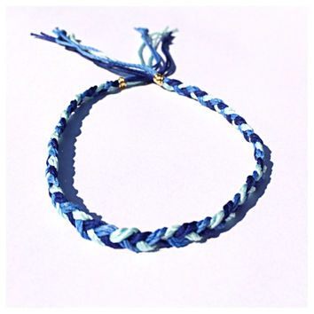 Ocean Blues Braided Hemp Ankle Bracelet