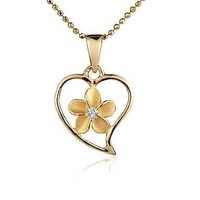 13.5MM YELLOW GOLD PLATED SILVER 925 HAWAIIAN PLUMERIA OPEN HEART PENDANT CZ