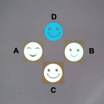 Luminous Smiley Face Mobile Phone Sticker 1pc, Diameter 3cm, 4 Available Styles: A, B, C (Green Light), D (Blue Light)