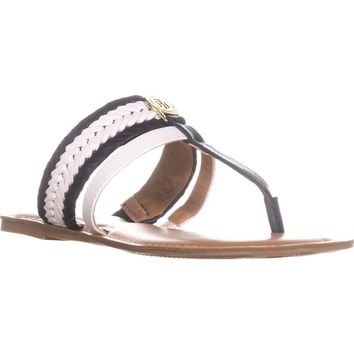 Tommy Hilfiger Lady T-Strap Braided Slide Flat Sandals, Medium Blue, 7.5 US