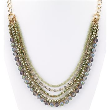 Beaded Glass Statement Long Necklace Green