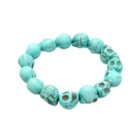 Turquoise Skulls Stretch Bracelet | Hot Topic