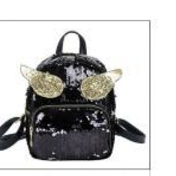 School Backpack trendy Small Sequins Backpack for Girl Cool Cute Angel Wings Preppy s PU Leather Women Panelled Glitter Bling Rucksack AT_54_4