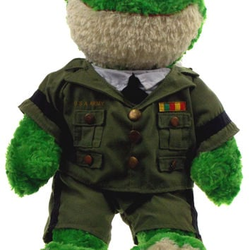 "Frog Build A Bear Workshop US Army Uniform 19"" Hugs Wishes Love Stuffed Animal"
