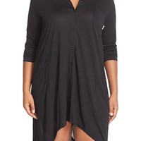 Plus Size Women's DKNY 'Touch' Button Front Sleepshirt ,