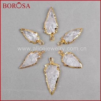 BOROSA Fashion Arroehead Pendants ,new White Quartz arrowhead pendants Quartz Druzy Pendants Connector Charm Bead G825