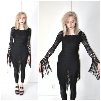 WITCHY fringe CROCHET dress vintage early 90s avant garde goth fringed sheer LBD boho black festival dress small