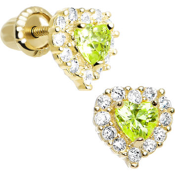 14K Yellow Gold Heart CZ August Birthstone Youth Screwback Earrings