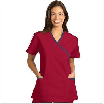 Fashion Seal Women's Fashion Poplin Cross-Over Tunic with Contrasting Trim - Sangria, Navy