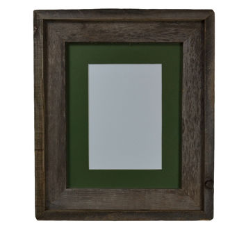 8x10 recycled gray wood frame with green mat for 5x7,8x6 or 4x6 photos