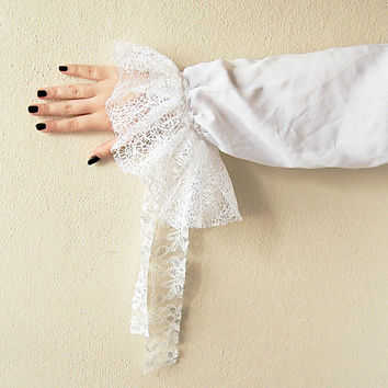 White Lace applique Upcycled Shabby Chic Shirt