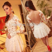 2015 New Stylish Applique Short Cocktail Dresses Sexy Backless Lace See-through Long Sleeves Party Gown vestidos de fiesta
