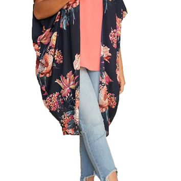 Umgee Floral Open Sheer Plus Size Kimono Navy Mix