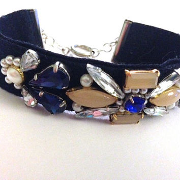 Sapphire Blush Crystal and Pearl Handmade Fabric Cuff Bridemaids Bracelet