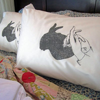 Screen Printed Pillowcases (set of 2 standard) - Pillow Covers - Eco Friendly Bedding - Shadow Puppet - Natural Cotton Pillowcase - Handmade