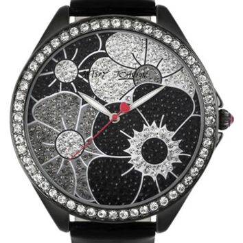 Betsey Johnson Pavé Floral Dial Watch, 48mm | Nordstrom