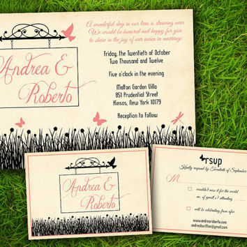 Vintage Rustic Floral Flowers Birds Customizable Shabby Chic Elegant Garden Wedding Invitation Card - DIY Printable