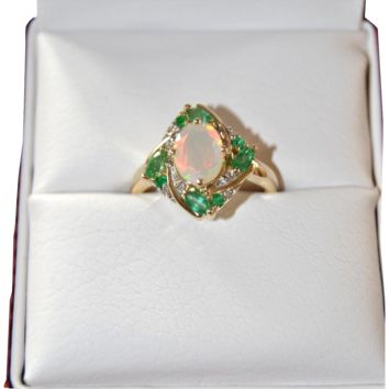 Estate Opal w/ Emeralds Ring, 10k yellow Gold, Diamond Accents