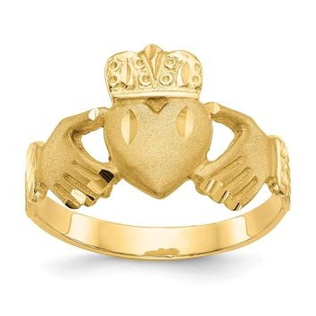 14K Yellow Gold Diamond-cut Claddagh Ring