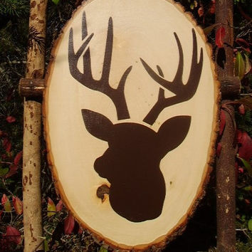 Big Buck Deer Head Silhouette wood slab rustic sign