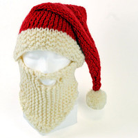 Chunky Beard Hat Christmas Beanie Knit Santa Hat Face Mask Winter Hat Snowboard Hat Ski Hat  Holiday Accessories- Newborn to Adult Size
