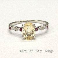 Oval Yellow Morganite Engagement Ring Rubies Diamonds Wedding 14K White Gold Claw Prong Antique Art Deco