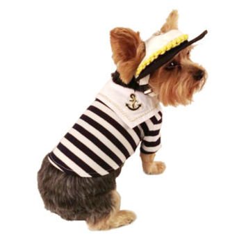 Blue and White Striped Sailor Theme Dog and Pet Shirt