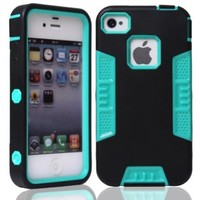 MagicSky PC + TPU Snug Fit Slim Impact Hybrid Case for Apple iPhone 4 4S 4G - 1 Pack - Retail Packaging - Aqua/Black