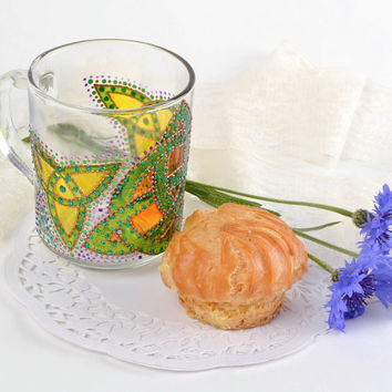 Handmade designer glass tea cup with acrylic dot painting Triquetra gift ideas