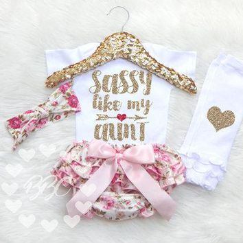 Funny Baby bodysuit SASSY LIKE MY AUNT White Baby girls Jumpsuits Onesuit one piece+Elastic waist shorts + headband 3pc set