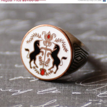 SALE Pennsylvania Dutch, Hex Sign, Double Unicorn, Enameled Crest, Silver Adjustable Ring, Vintage 1950s, Hoffman