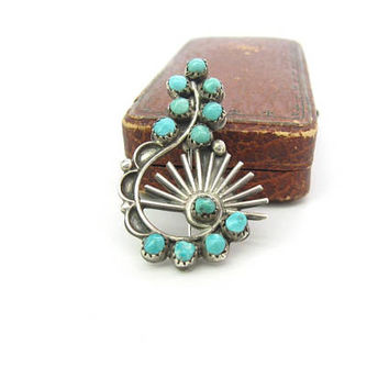 Turquoise Swirl Brooch. Navajo Sterling Silver Sun Rays. Hand Shaped Zuni Style Gemstones. Vintage Handmade Native American 1970s Jewelry