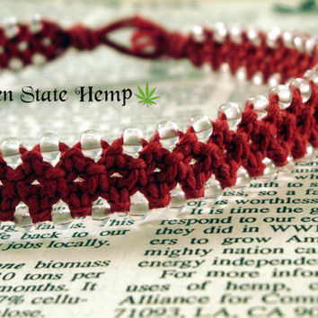 Red Beaded Hemp Necklace, Glow in the Dark Hemp Necklace, Macrame Choker Necklace, Hemp Choker, Red Hemp Jewelry, Day Collar