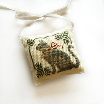 Christmas cat ornament, Christmas tree decor, christmas gift, mini grey pillow, Completed cross stitch primitive cross stitch ornament