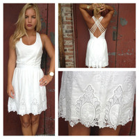 White Embroider Criss Cross Back Dress