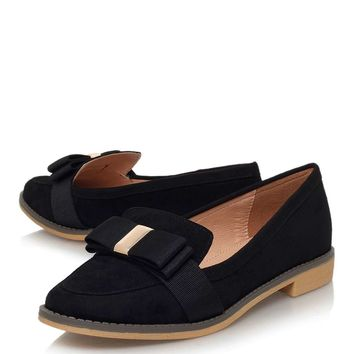 **Marcie Black Low Heel Loafers By Miss KG - Shoes
