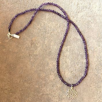 Fine Faceted Amethyst and Sterling Silver 'Crown Chakra' Pendant Necklace