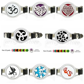 Stars baby hands Essential Oil Diffuser Locket Bracelets Pu Leather twist screw 25mm locket for Women Aroma Bracelet with 10pads