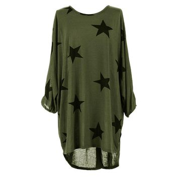 Loose Green Pentagram Printed T-Shirt Dress