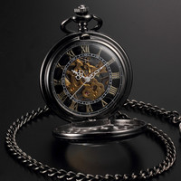Men's Steampunk Skeleton Mechanical Black Gold Open Face Retro Pendant Pocket Watch