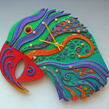 Squwak Clock or Wall Art Sculpture in Crazy Stripe Polymer Clay Earth Charity 100%
